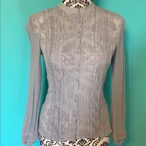 Ann Taylor Embroidered Sheer Lace Btn Dwn Blouse